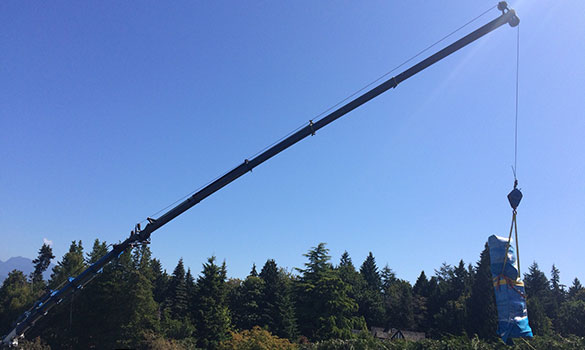 long boom crane lifting art into place